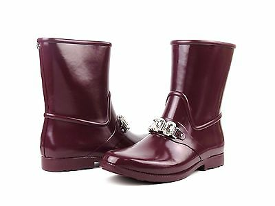 Michael Kors Leslie Rain Bootie Plum Purple Rubber Crystal Short Ankle Boot 9 Purple Rain Boot