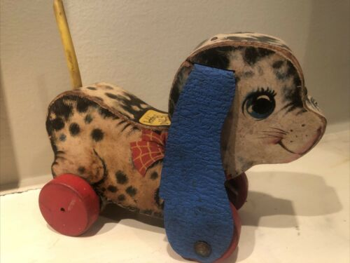 Vintage Fisher Price 626 Playful Puppy Wooden Pull Toy-no shoe