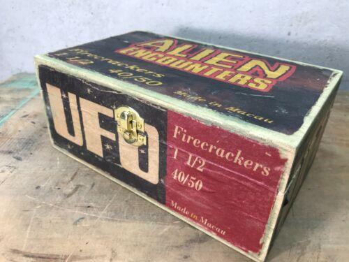 UFO Wood Box 8.5 x 5.25 x 3.5 size Firecracker Fireworks used empty