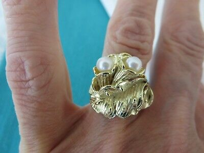 VINTAGE 18K SOLID GOLD DESIGNER FLOWER & 5 MM PEARLS RING SZ 7 19 MM WIDE