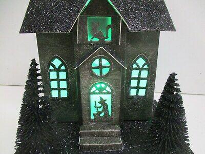 Light-Up Haunted House w/ bottle brush trees Halloween Village decor~ Black