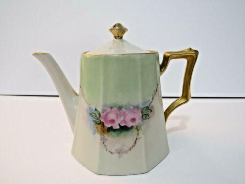 Vintage Bavarian Porcelain Tea Pot - Hand Painted