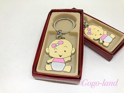 Baby Girl Showers (12 Girl Baby Shower Keychains Llaveros Favors Baby Girl Shower Pink Favors)