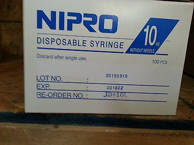 Nipro 10 Cc Luer Lock Sterile Syringe Without Needle Box Of 100