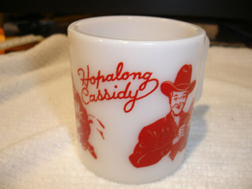 Vintage Hopalong Cassidy mug Red print white milk mug