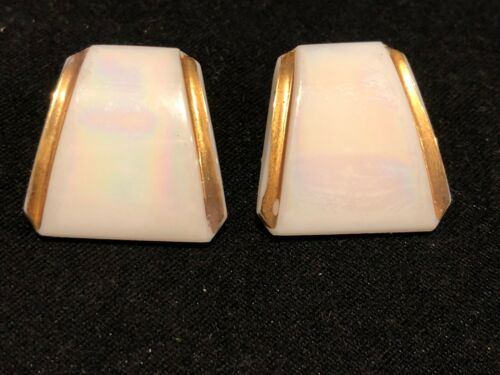 Vintage Iridescent  Milk or Carnival Glass Clip Earrings with Gold Trim
