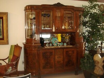 Italian Bevel Walnut Hutch w Curved Etched Glass Cabinets Early 1900's Imported  Glass Walnut Hutch