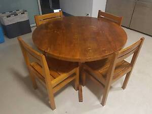 Wooden 4-Seater Dining Table and Chairs Port Melbourne Port Phillip Preview