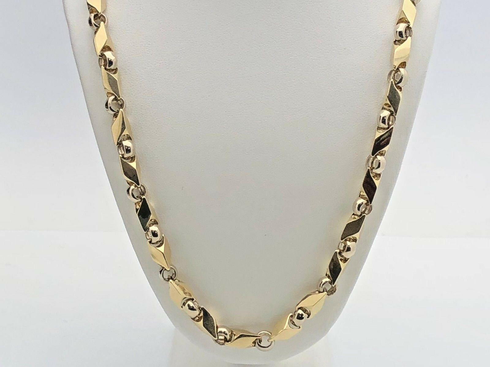 a29f1f4d2e324 Details about Men's 14k Two Tone Gold Handmade Fashion Link Necklace 20