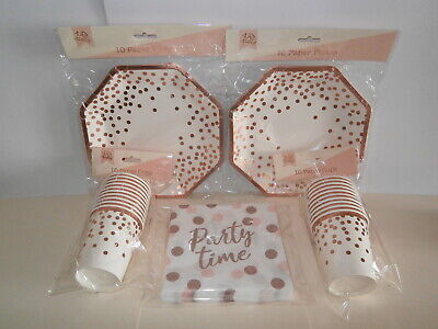 Rose Gold Confetti Party Tableware - Paper Cups, Plates & Napkins - 20 of each