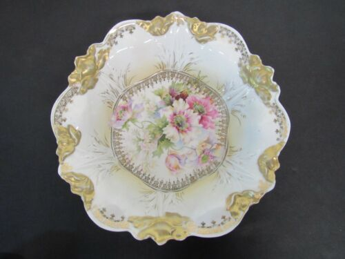 """S & T RS Prussia Germany Floral Gold Bowl ~ 10 1/2"""" Diameter ~ Lovely!"""