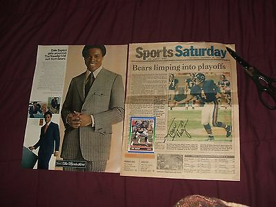 Chicago Bears Gayle Sayers Sears 1970 Ad  85 Super Bowl Autograph Tom Thayer