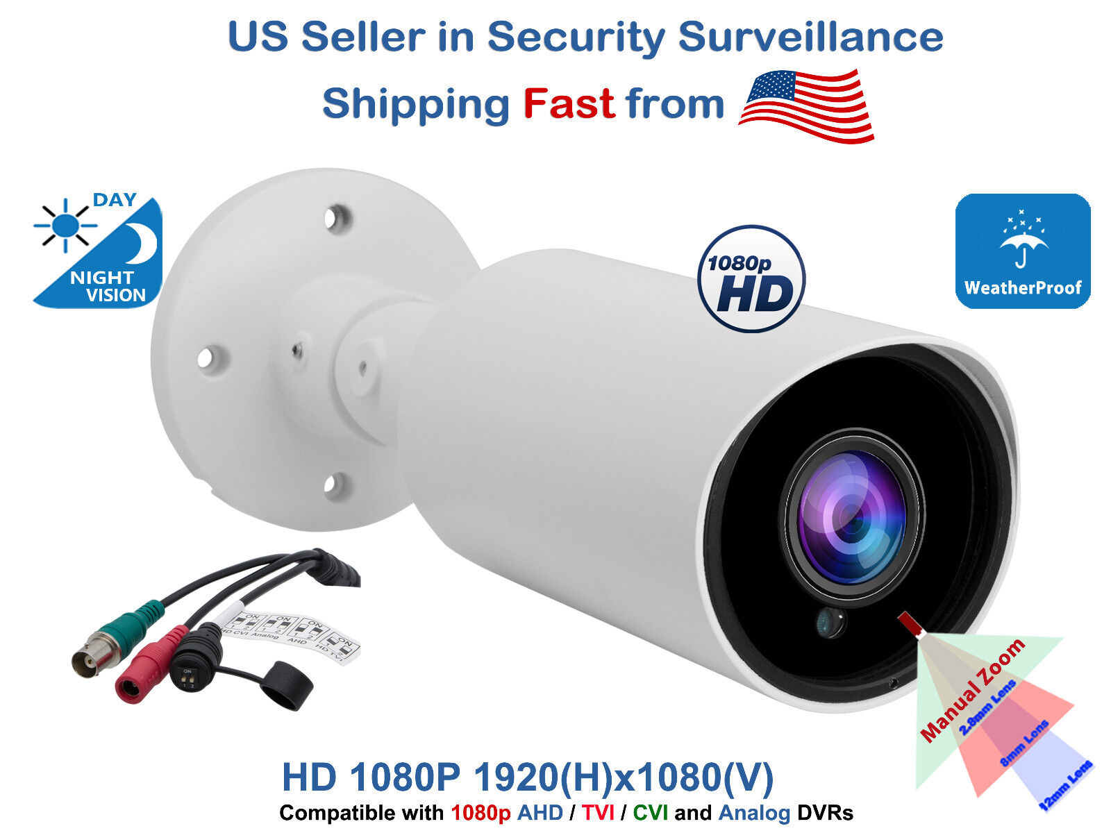 Outdoor CCTV Security Camera 1080p AHD TVI CVI Night Vision