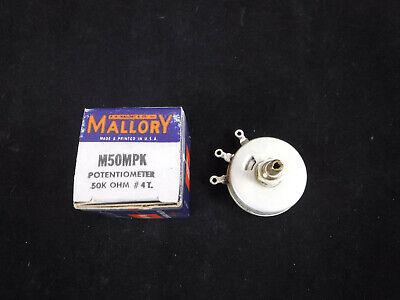Vintage Nos Mallory M50mpk Potentiometer 50k Ohm 4t