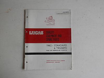 LUCAS Parts List 1962 TRIUMPH cars, STANDARD cars and  light commercials