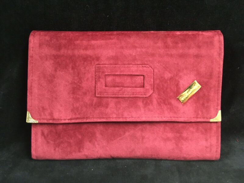 Red Velvet Travel jewelry Case Roll Out  Bag For Necklaces and Bracelets