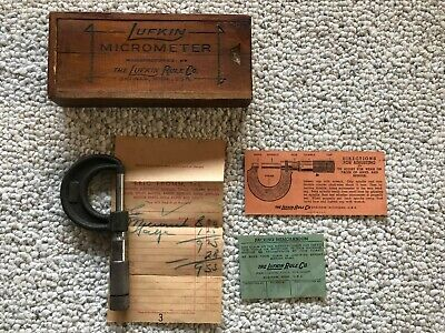 Lufkin 1 Inch Micrometer Dovetailed Wood Box Machinist Tool With Bill Of Sale