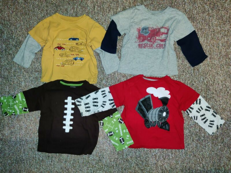 Lot of 4: Boys Long Sleeve Shirts Size 12M