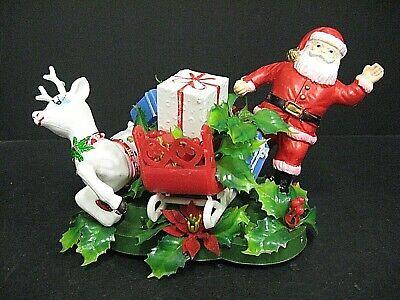 Vintage 1960's Christmas blow mold centerpiece Santa reindeer sleigh blow mold