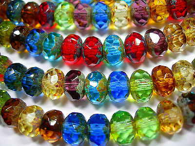 25 Mixed Jewel Tone Picasso Czech Glass Rondelle Beads 9x6mm
