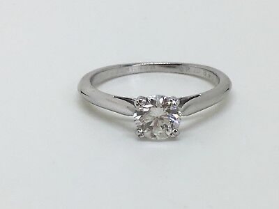 Boucheron Diamond 18K White Gold Solitaire 0.46 Ct Ring