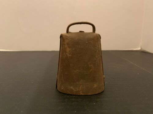 Antique Primitive Folded Riveted Metal Cow Bell 3.25 Inches