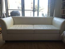 White (Italian) Leather Sofa bed used Greenwich Lane Cove Area Preview