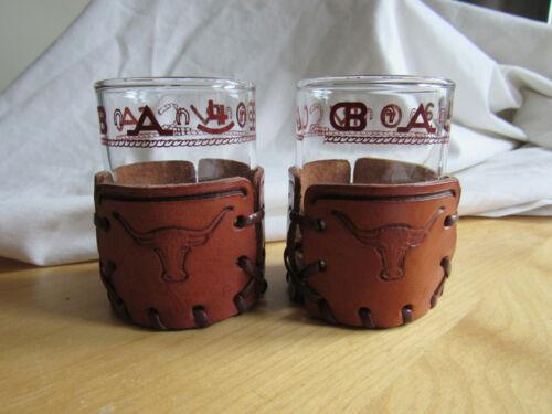 Libbey Bamco WESTERN Longhorn Glasses Set of 2 Leather Holders 3 inch Shot Juice
