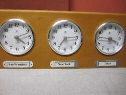 Wood Around The World Triple Time Zone Wall Clock Quartz