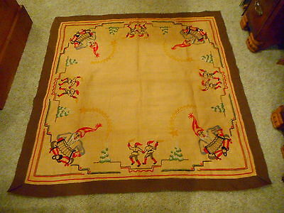 Vintage Hand Embroidered Christmas Wall Hanging Tapestry Tablecloth Santa Linen
