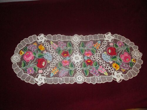 """Kalocsa Hungarian  hand embroidered table clout colorful richelieu 33x13"""""""