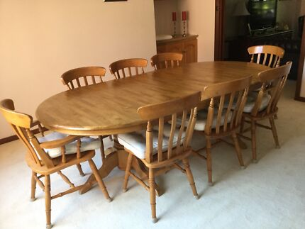 Solid Wood Table And Eight Chairs