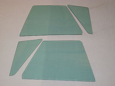 1963-1967 CORVETTE CONVERTIBLE 4 PC SIDE GLASS SET GREEN DATED TO MATCH YOUR CAR