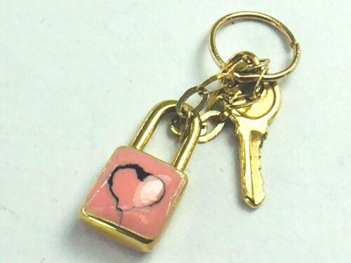 14K yellow gold enamel LOVE padlock with key charm..1.6gm NWOT..
