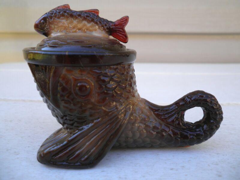 Vintage Greentown Glass Mini Walking Fish---Dark Chocolate Slag--PRICE DROP
