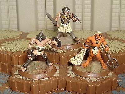 Spartacus-Crixus-Retiarius- Gladiator Hero Lot- Heroscape 5- Free Ship Available