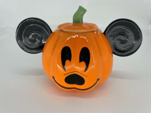 NEW Disney Mickey Minnie Mouse Orange Pumpkin Halloween Cookie Jar