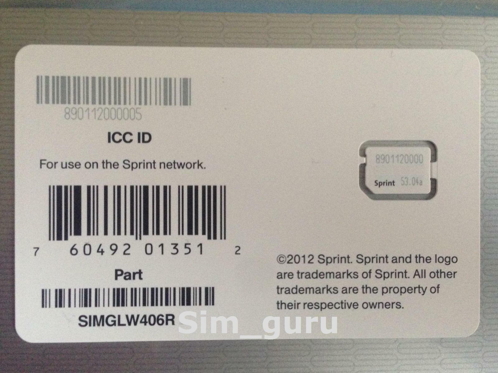 Sprint ICC ID Nano SIM Card for iPhone 5 SIMGLW406R