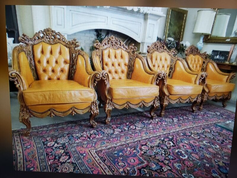 Grand Baroque Rococo Cognac Leather Chairs