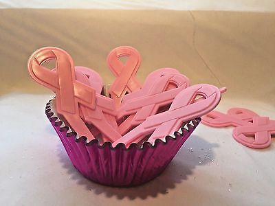Awarness Pink Breast Cancer Ribbon cake cupcake toppers Picks pink  #12 toppers - Breast Cancer Cupcakes