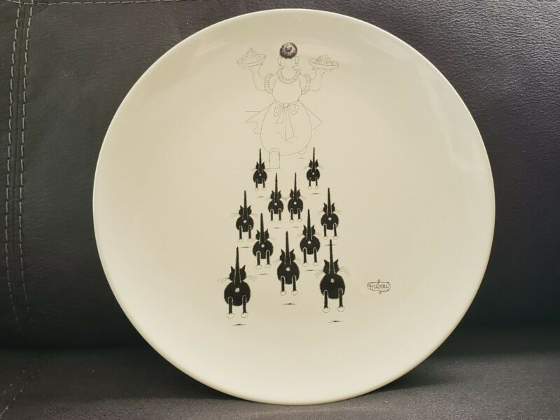 "DUBOUT 2003 CAT EDITIONS CLOUET BLACK & WHITE 11"" DINNER PLATE"
