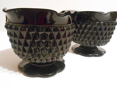 Black Milk Glass Candlestick Holders Diamond Point Ruffle Top -
