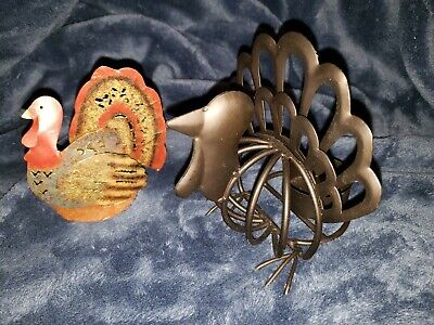 Yankee Candle Thanksgiving Metal TURKEY Jar Candle Holder + bonus tealight hold