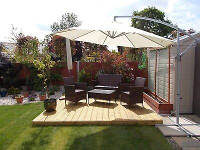 Complete DIY B Grade Garden Decking Kits 2.4x2.4 to 2.4x9.6 All Components