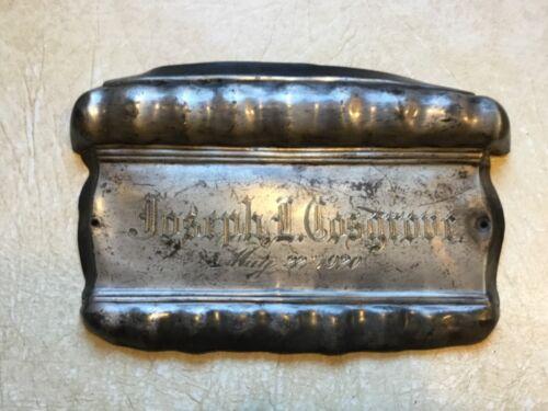 XXX RARE may 22 1920  coffin Memorial  Plaque metal