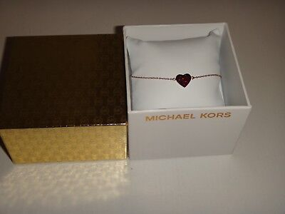 Michael Kors Women's Rose Gold Necklace Red Crystals Heart MKJ3972791 + GIFT BOX