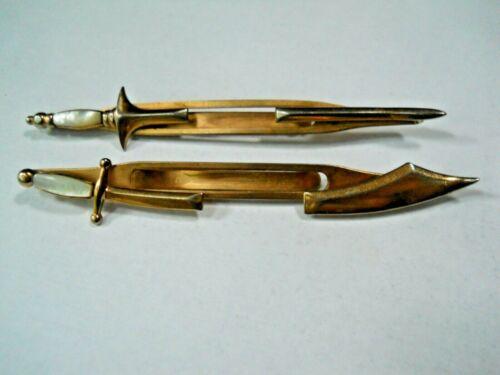 Vintage SWANK Sword Tie Clasps / Mother of Pearl / Set of 2