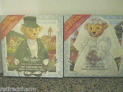 ❤TWO 2 PECK-GANDRE PAPER DOLLS STEIFF BRIDE & GROOM TEDDY BEARS SEALED VINTAGE ❤