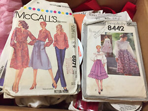 Sewing Patterns & Box of material