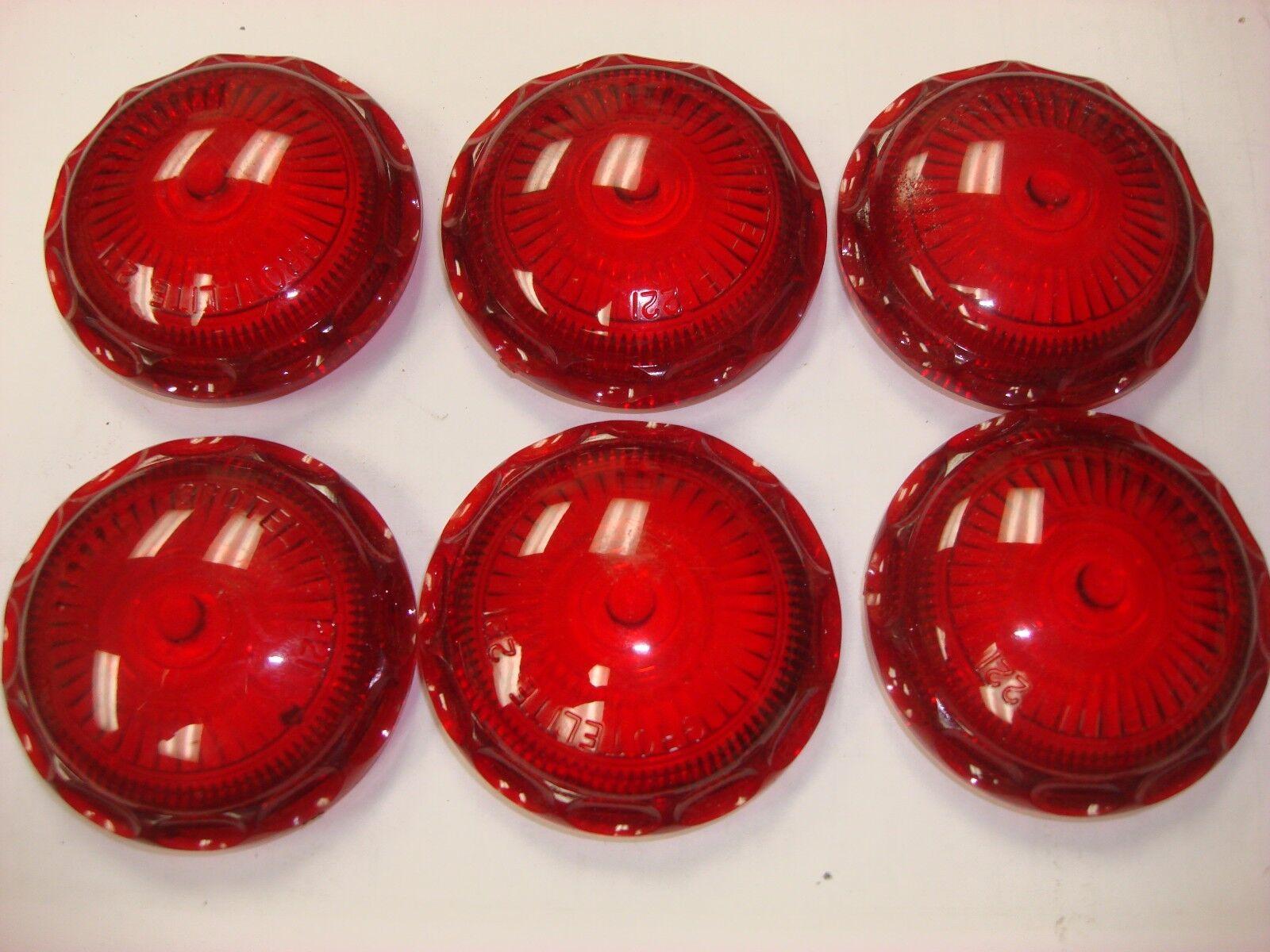 """NEW Lot of 6pcs Red Lens Roof Cab Light Marker Grotelite 221R 2 7/16"""" Diameter"""